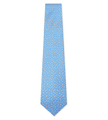 SALVATORE FERRAGAMO Dog print silk tie (Light+blue