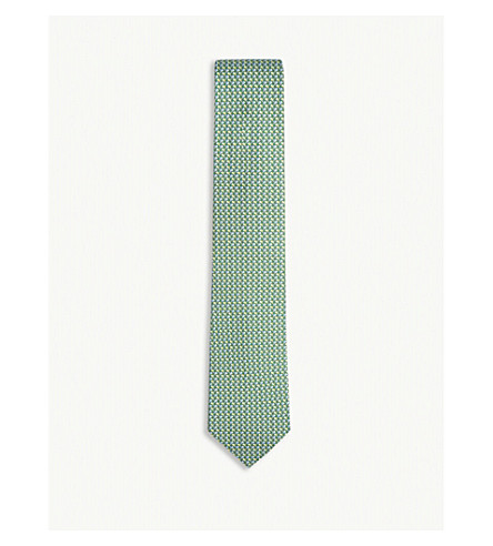 SALVATORE FERRAGAMO Flag pattern silk tie (Green