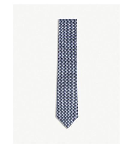 SALVATORE FERRAGAMO Flag pattern silk tie (Navy