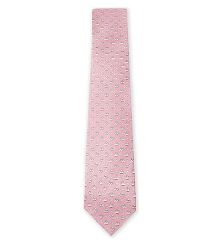 SALVATORE FERRAGAMO Baseball chick silk tie (Pink