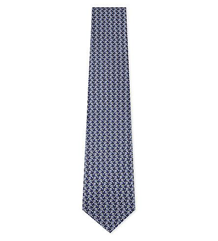 SALVATORE FERRAGAMO Tennis silk tie (Navy
