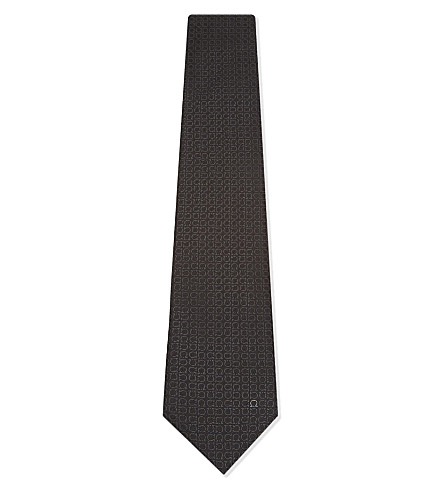 SALVATORE FERRAGAMO Rotated Gancio silk tie (Black