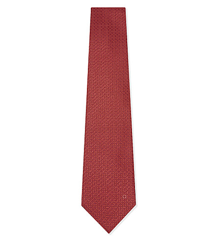 SALVATORE FERRAGAMO Rotated Gancio silk tie (Red