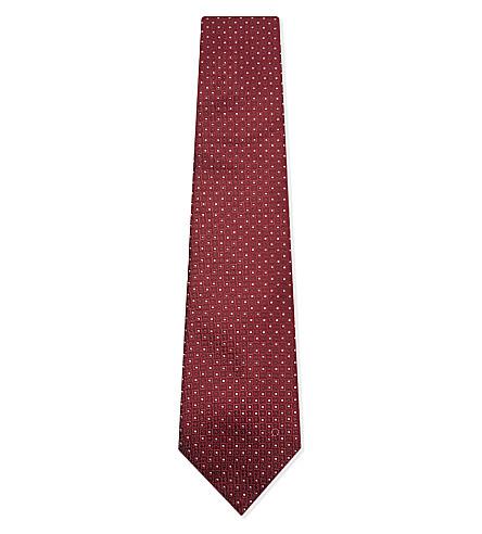 SALVATORE FERRAGAMO Mini square silk tie (Bordeaux