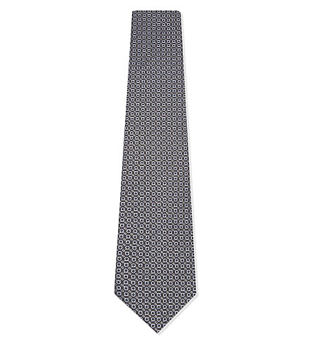 SALVATORE FERRAGAMO Reversed Gancio silk tie (Grey