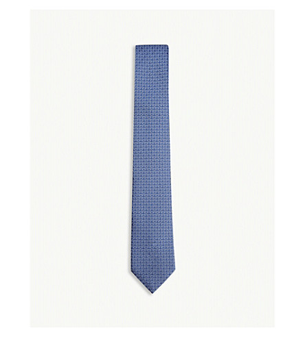 SALVATORE FERRAGAMO Gancio and pindot silk tie (Bluette