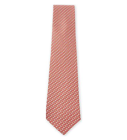 SALVATORE FERRAGAMO Horse-print silk tie (Coral