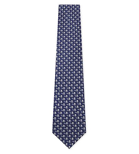 SALVATORE FERRAGAMO Teddy tennis silk tie (Navy