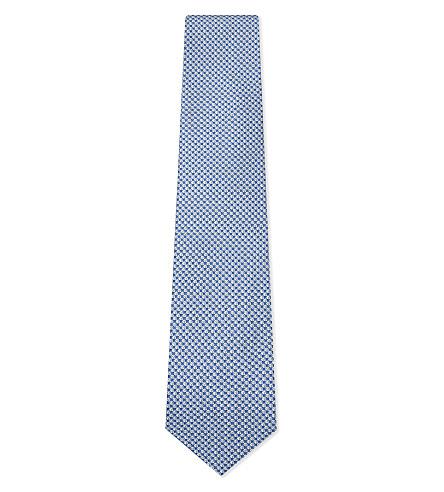 SALVATORE FERRAGAMO Football silk tie (Blue
