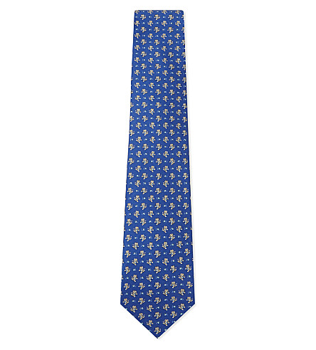 SALVATORE FERRAGAMO Rugby teddy bear silk tie (Blue