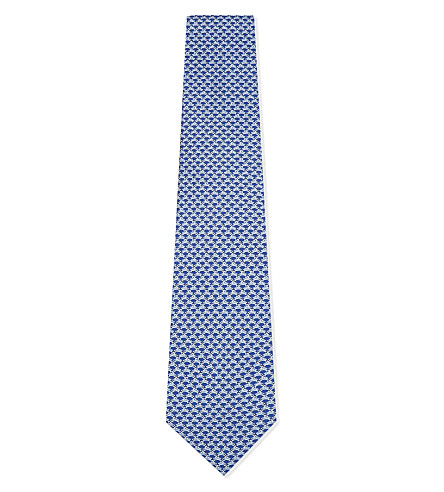 SALVATORE FERRAGAMO Rabbit silk tie (Blue