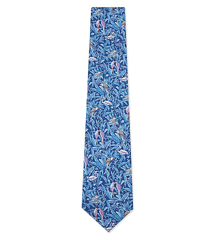 SALVATORE FERRAGAMO Monkey and floral silk tie (Blue