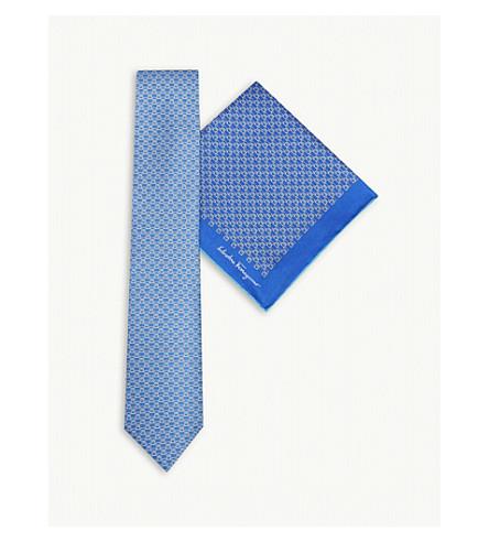 SALVATORE FERRAGAMO Logo silk tie and pocket square set (Blue