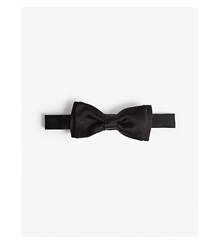 SALVATORE FERRAGAMO Solid silk bow tie (Black