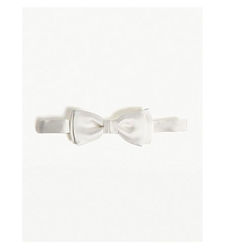 SALVATORE FERRAGAMO Solid silk bow tie (White