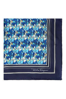 FERRAGAMO Hand-drawn horses silk pocket square