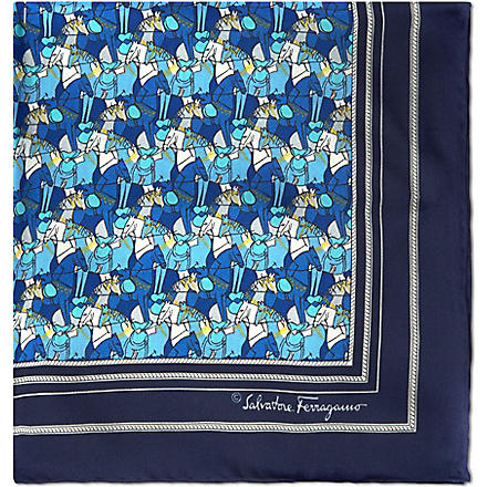 FERRAGAMO Hand-drawn horses silk pocket square (Blue