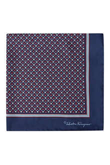 FERRAGAMO Horseshoe bordered silk pocket square