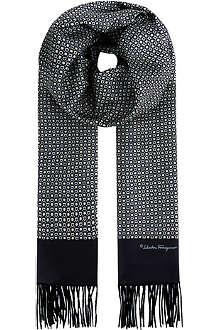 FERRAGAMO Printed silk & cashmere scarf