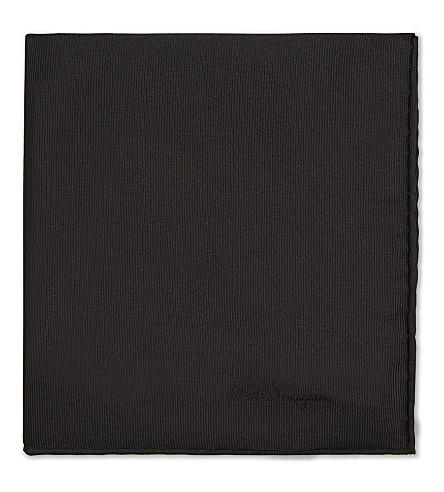 SALVATORE FERRAGAMO Twill silk pocket square (Black