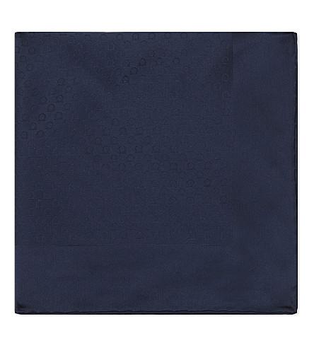 SALVATORE FERRAGAMO Gancio silk pocket square (Navy