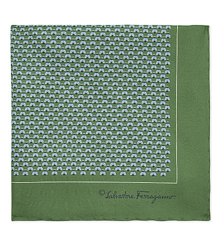 SALVATORE FERRAGAMO Animal print silk pocket square (Green