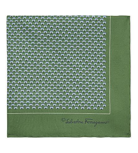 SALVATORE FERRAGAMO Animal print silk pocket square (Green