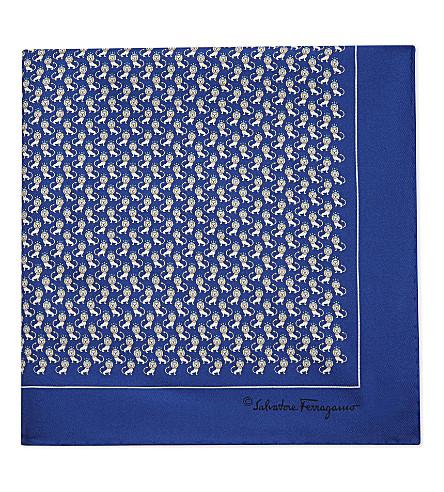 SALVATORE FERRAGAMO Frog and lion silk pocket square (Bright+blue