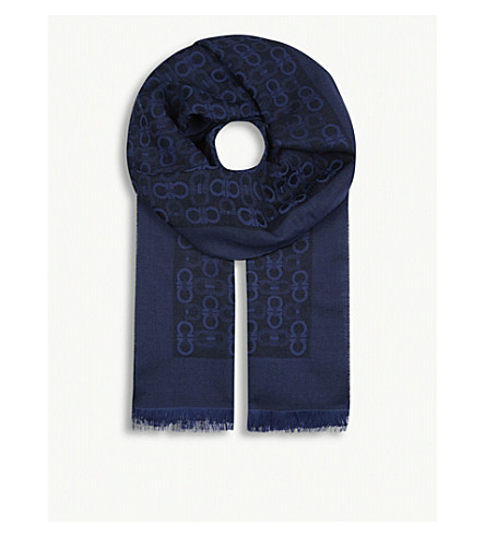 SALVATORE FERRAGAMO Logo wool and silk-blend scarf (Black