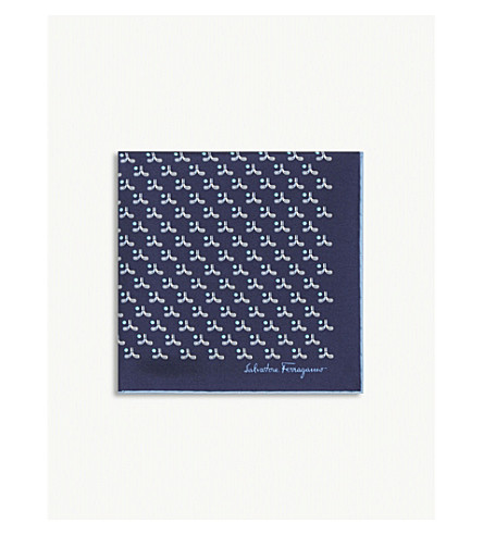 SALVATORE FERRAGAMO Golf club silk pocket square (Marine