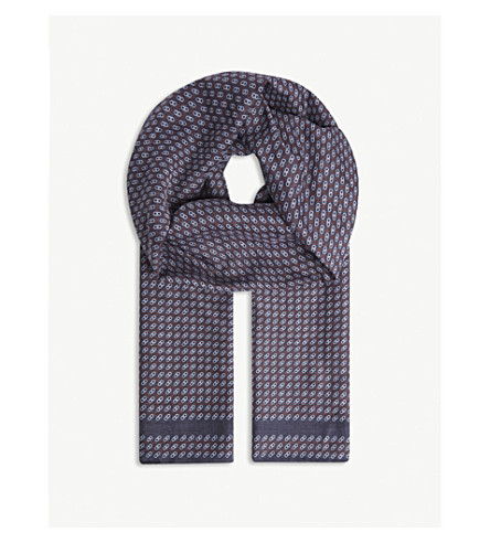SALVATORE FERRAGAMO Tonal Gancio cotton-silk scarf (Navy