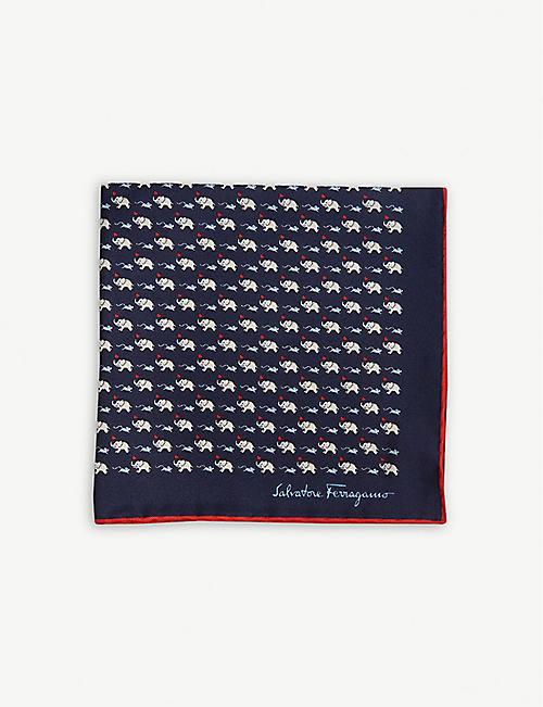 7c144866f5c4 SALVATORE FERRAGAMO Elephant and mouse print silk pocket square