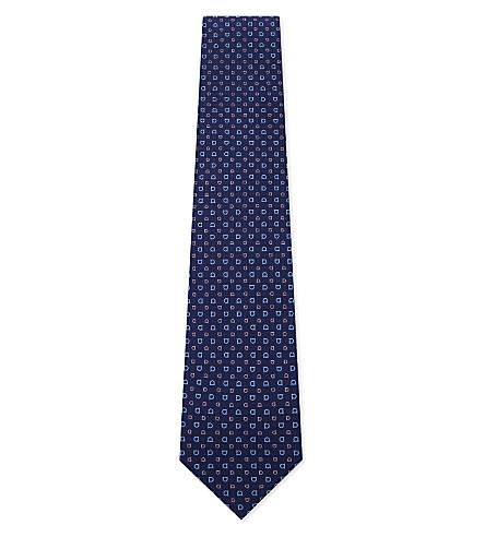 SALVATORE FERRAGAMO Multi logo silk tie (Marine