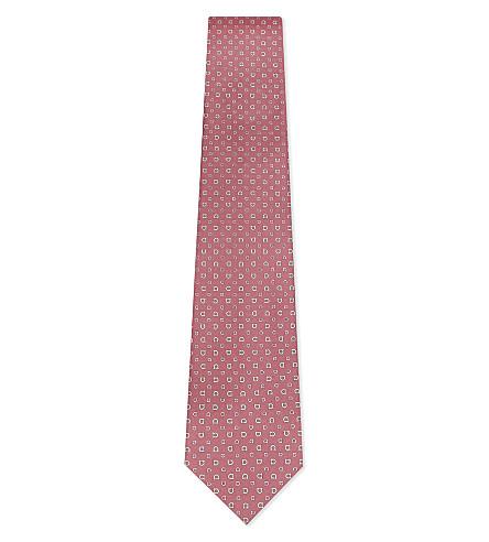 SALVATORE FERRAGAMO Horse shoe silk tie (Light+pink