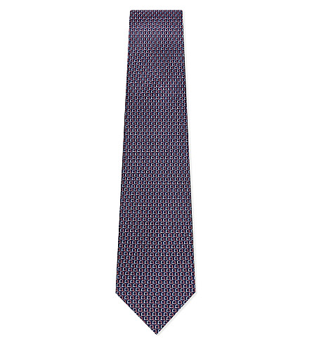 SALVATORE FERRAGAMO Horse shoe silk tie (Blue