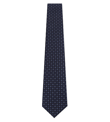 SALVATORE FERRAGAMO Mini Gancho silk tie (Blue