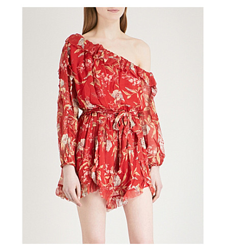 ZIMMERMANN Corsair Iris silk-georgette playsuit (Washed+iris