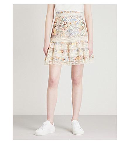ZIMMERMANN Lovelorn Flutter broderie anglaise cotton mini skirt (Blue+floral