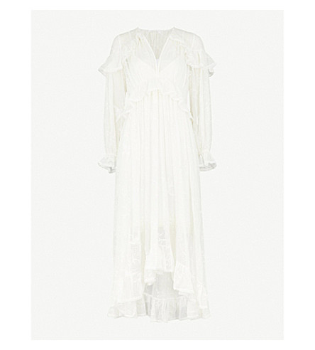 ZIMMERMANN Lovelorn Cape Shoulder silk-georgette midi dress (Ivory