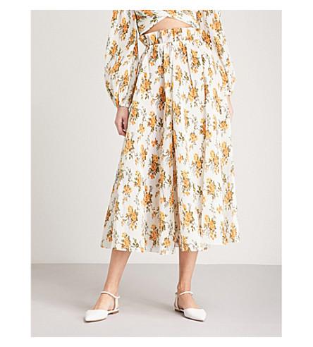 ZIMMERMANN Golden plissé maxi skirt (Tangerine+vine+floral