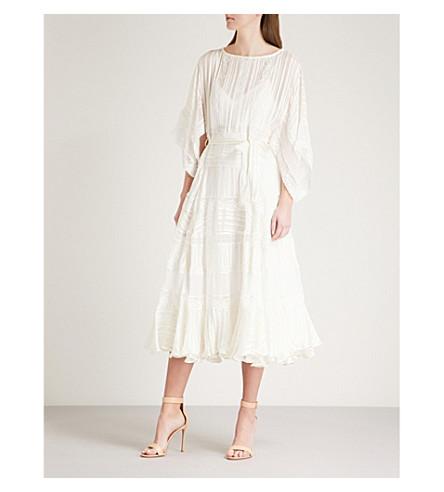 ZIMMERMANN Whitewave Veil striped silk-satin dress (Pearl