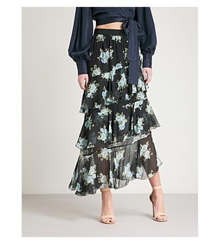ZIMMERMANN Breeze tiered high-rise silk-georgette skirt (Navy+poppy+floral
