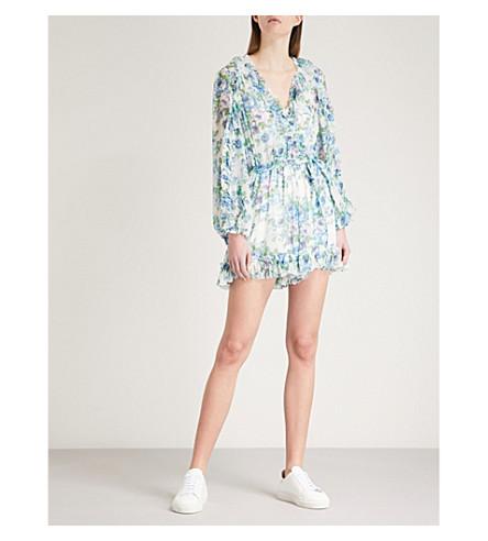 ZIMMERMANN Breeze Ruffle silk-georgette playsuit (Azure+wallpaper+floral