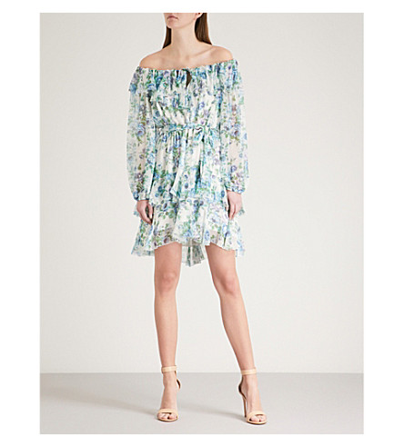 ZIMMERMANN Breeze off-the-shoulder silk-georgette mini dress (Azure+wallpaper+floral