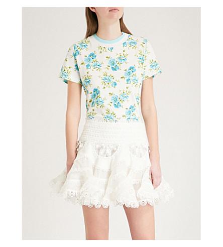 ZIMMERMANN Golden linen and cotton-blend T-shirt (Teal