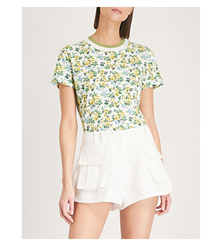ZIMMERMANN Golden floral-pattern linen and cotton-blend T-shirt (Lemonade+acid+floral