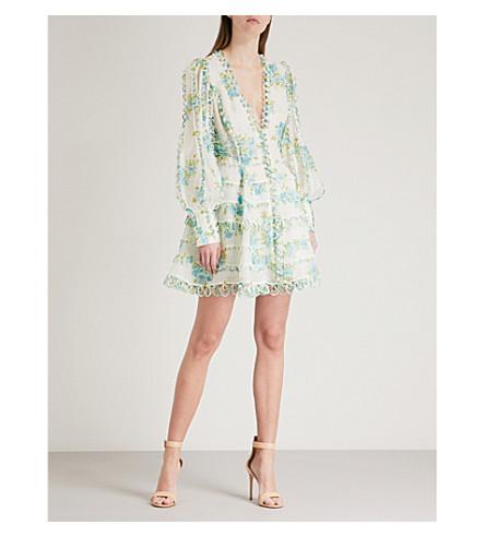 ZIMMERMANN Whitewave Honeymooners silk dress (Teal+poppy+floral