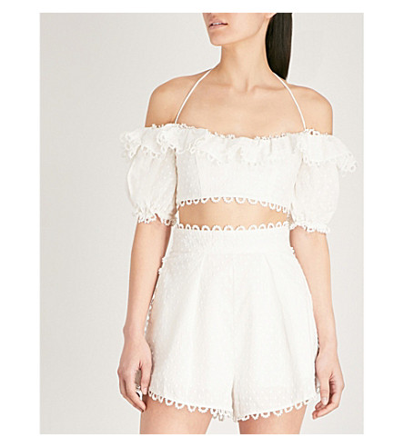 ZIMMERMANN Melody off-the-shoulder linen and cotton-blend top (Ivory