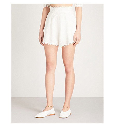 ZIMMERMANN Melody high-rise linen and cotton-blend shorts (Ivory