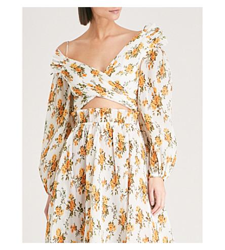 ZIMMERMANN Golden off-the-shoulder plissé top (Tangerine+vine+floral